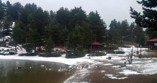 Limni Gölü'nde kar yağışı başladı