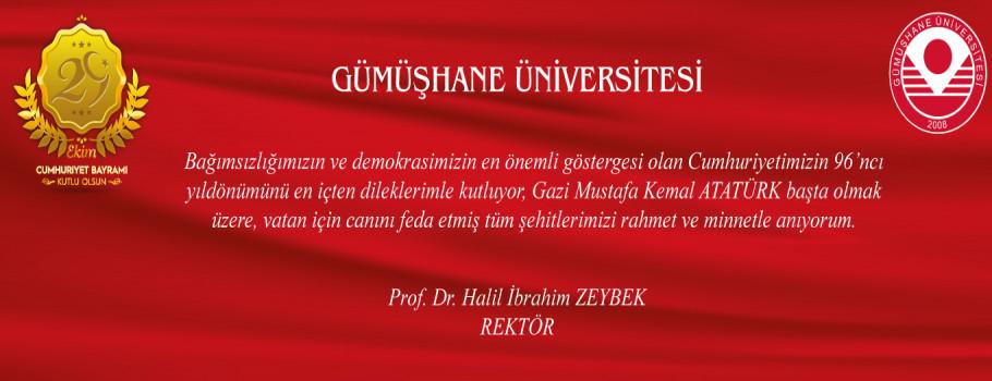 Rektörümüzün 29 Ekim Cumhuriyet Bayramı Mesajı