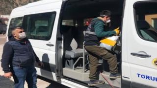 Torul Belediyesi Dolmuşlarda Dezenfeksiyon Çalışması Yaptı